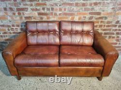 Stylish Vintage Danish 1970 Tan Coloured Two seater Leather Sofa