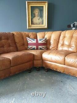 Superb Vintage tan Leather Chesterfield 5 Seater Corner Sofa RRP £3000