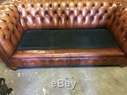 Superior Quality Vintage Antique Tan Leather Chesterfield 3 Seater Sofa