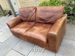 THE VINTAGE TANNING Co. CHESTNUT BROWN ANILINE LEATHER 3 SEATER SOFA BY HALO