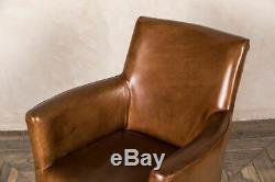 Tan Leather Antique Style Armchair Vintage Style Dining Chair Kempton