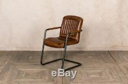 Tan Leather Chair Carver Or Side Chair Modern Dining Seating Vintage Style