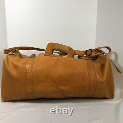 Tan Leather Duffle Weekend Carry On Travel Tumi Style Bag Colombia Vintage 70s