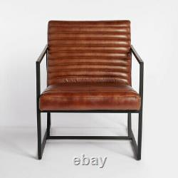 Tan Leather Lounge Chair Seater Sofa Cover Couch Living Room Design Vintage Arm