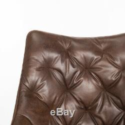Tan Leather Office Chair Lifting Armchair Rhombic High Back Desk Home Reception