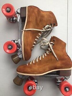 Tan Suede Roller Skates Riedell Vintage 130L M Sz 9 W 10 Fully Restored