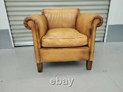 Tetrad For John Lewis'camford' Tan/brown Leather Tub Chair Vintage Style