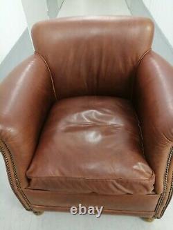 Tetrad'keats' Brown/tan Leather Tub Chair Distressed, Vintage, Club