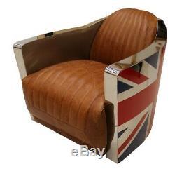 Union Jack Aviator Retro Distressed Vintage Tan Real Leather Tub Chair