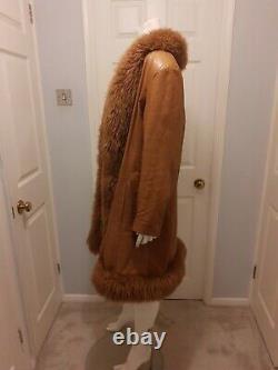 VINTAGE Penny Lane real tan leather coat shearling trim 10 12 70s boho hippie