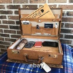 VINTAGE RENWICK 1970s BRITISH TAN DISTRESSED LEATHER MACBOOK BRIEFCASE BAG R$998