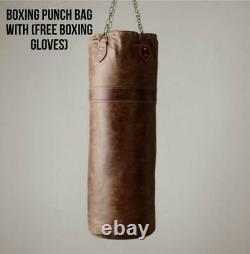 VINTAGE TAN LEATHER BOXING PUNCH BAG with FREE Boxing Gloves, BRACKETS + CHAIN