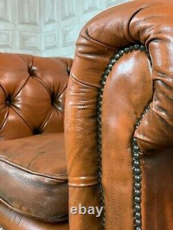 VINTAGE Tan Brown Leather Chesterfield Club / Tub Chair £55 DELIVERY