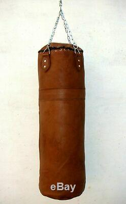 VINTAGE Tan Leather Boxing Gym Punch Bag with BRACKETS + CHAIN