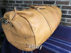 VINTAGE XL 1970's BRITISH TAN BASEBALL GLOVE LEATHER ROUND DUFFLE GYM BAG R$1298