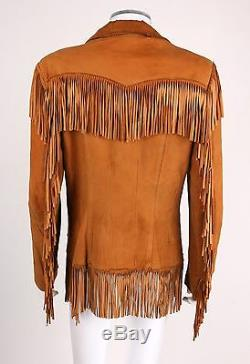 VTG 1950s LEVI STRAUSS TAN AUTHENTIC WESTERN WEAR FRINGE SUEDE LEATHER JACKET M