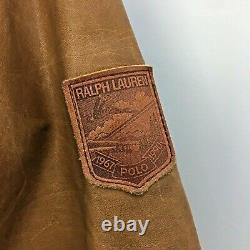 VTG 80s Polo Ralph Lauren Tan Olive Green Leather Down Bomber Jacket Mens Sz L