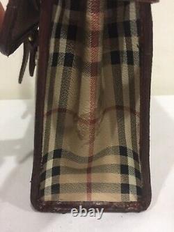 VTG Burberry Top Handle Haymarket Flap Bag Nova Check Plaid British tan