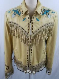 VTG Double D Ranch Womens S Yellow Tan Leather Western Jacket Fringe Embroidered