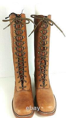 VTG Women's 70s Tan Frye Brown Label Lace Up Campus Boots Sz 10 B 1970s 2 Heel
