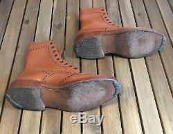 Vintage 1950s Trickers Brogue Tan Leather Country Boots
