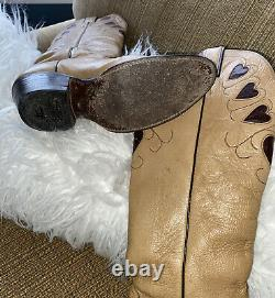 Vintage 70s 80s Justin Heart Boots 4124 Tan Brown Size 7 Tall Sexy Rockabilly