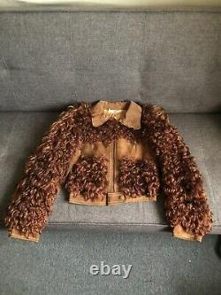 Vintage 70s Tan Cropped Shearling Leather Suede Jacket Size S/XS