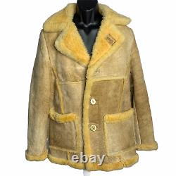 Vintage 80s Sheepskin Coat 42 Tan Shearling Elk Horn Button Marlboro Man Schott