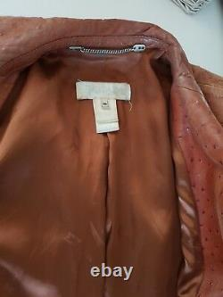 Vintage 90 s Escada stunning brown tan leather coat size 36