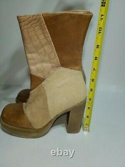 Vintage 90's STEVE MADDEN Tan Leather Fur Patchwork Chunky Platform Boots 6.5