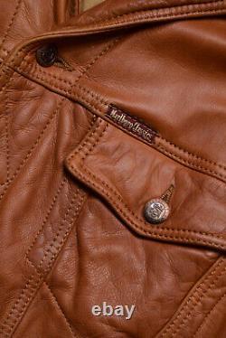 Vintage 90s Marlboro Classics Tan Leather Trucker Jacket Size XXL