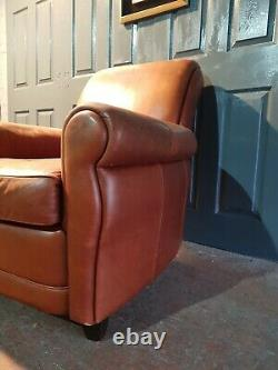 Vintage Antique Barker And Stonehouse Tan Leather Armchair