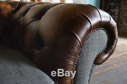 Vintage Antique Tan Leather & Dark Grey Wool 3 Seater Chesterfield Sofa Couch