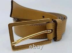 Vintage Authentic PRADA Women`s Tan Leather Belt 1C 1701 85/34