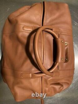 Vintage Authentic Tan Leather Coach Cabin Duffle Bag (Large No. 503)
