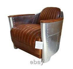 Vintage Aviator Aviation Rocket Tub Chair Vintage Distressed Tan Real Leather