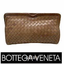 Vintage BOTTEGA VENETA Tan Intrecciato Woven Clutch Purse Bag Made in Italy
