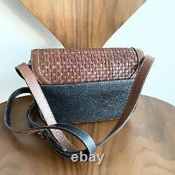 Vintage Bally Switzerland Small Black Tan Intrecciato Weave Saddle Bag