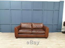 Vintage Barker&stonehouse Chesterfield Distressed Tan Leather Club Cottage Sofa