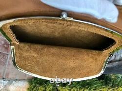 Vintage Bonnie Cashin Camel Tan Coach Leather Big Mouth Kisslock Shoulder Bag