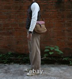 Vintage Bronson Vegetable Tanned Leather Canvas Messager Bag Men Crossbody Bag