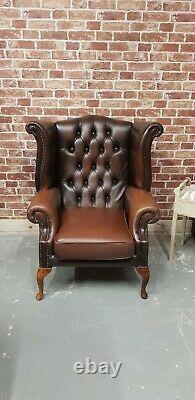Vintage Brown Tan Leather Chesterfield Wing Back Chair Queen Anne