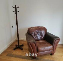Vintage Brown Tan Leather Club Chair Armchair Tub DISTRESSED 30 Yr old Comfy
