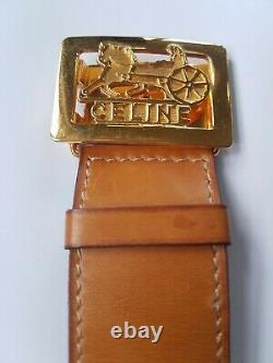 Vintage CELINE Tan LEATHER CUFF Bracelet Bangle w Carriage Buckle Closure
