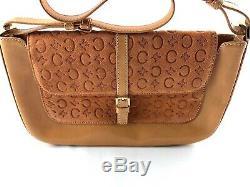Vintage Celine Monogram Leather Suede Handbag Tan Excellent Condition