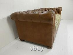 Vintage Chesterfield Aged Tan Leather 3 Seater Sofa with Green Check Cushions