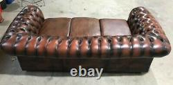 Vintage Chesterfield Antique Saddle Tan Leather 3 Seater Sofa