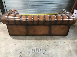 Vintage Chesterfield Antique Tan Leather 3 Seater Sofa