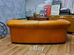 Vintage Chesterfield Tan Leather Ranch Cottage Sprinvale Sofa