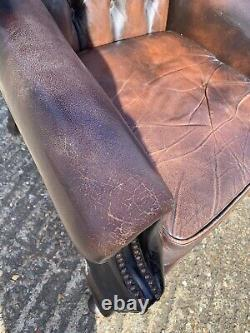 Vintage Chesterfield Wing Back Chair Leather Tan Office Man Cave Pub